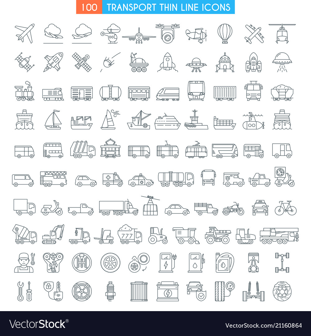 Vehicles thin line icons