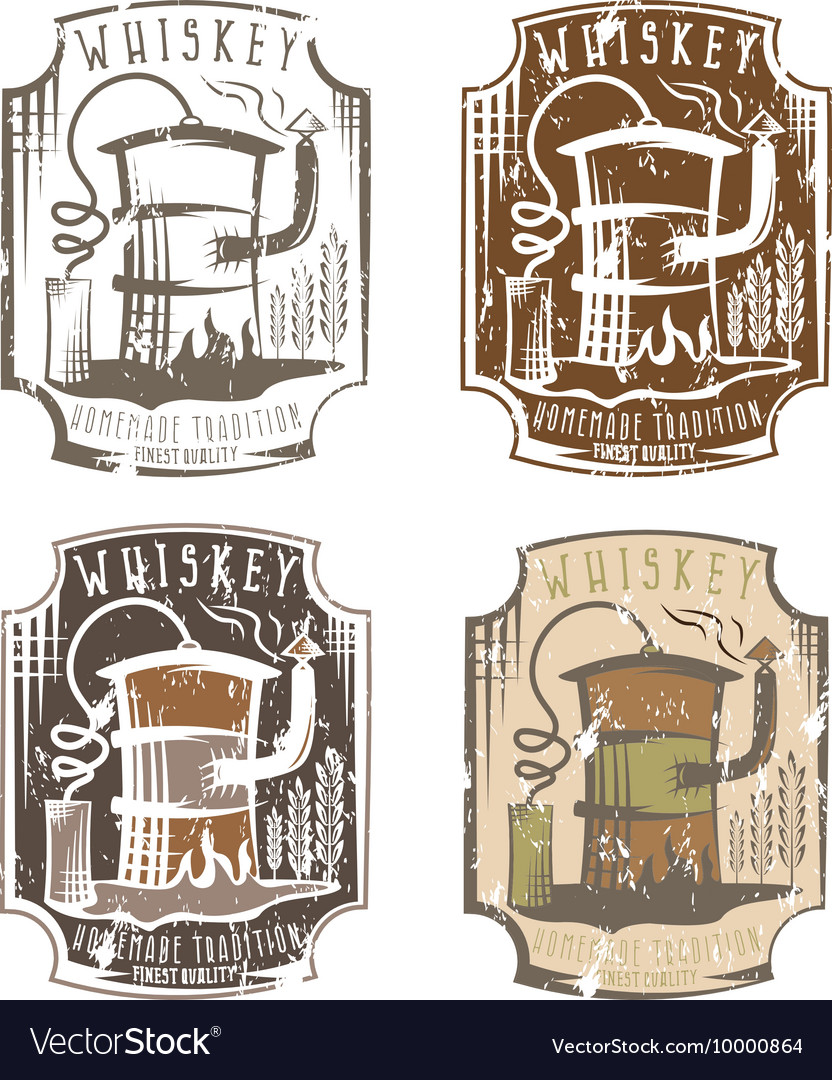 Whiskey grunge labels set with home alcohol
