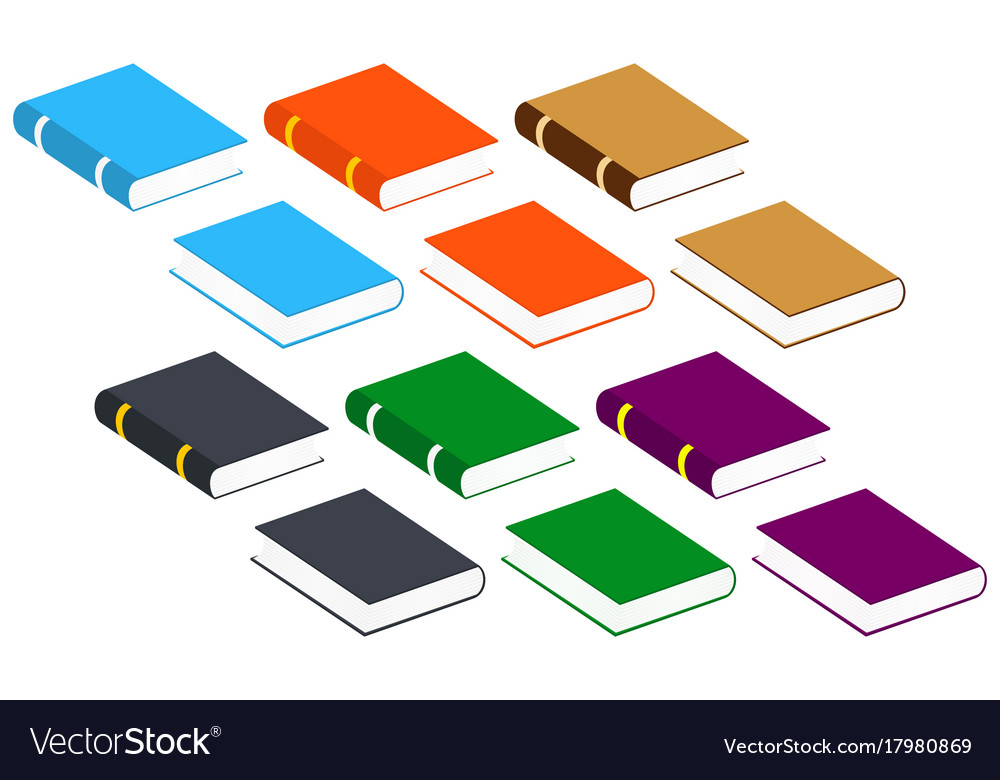 Book icons set isolated pictogram of different