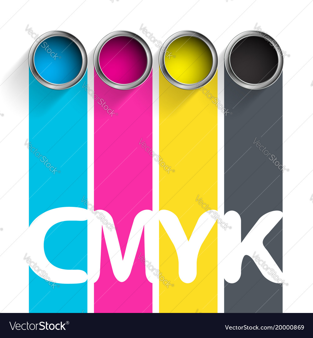 Bucket of paint cmyk color scheme for the Vector Image