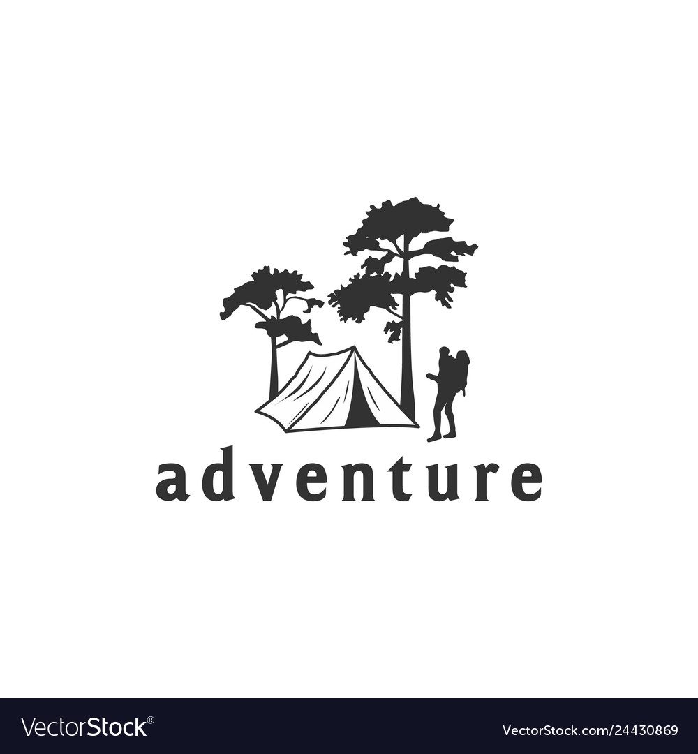 Camping logo with tent and trees view