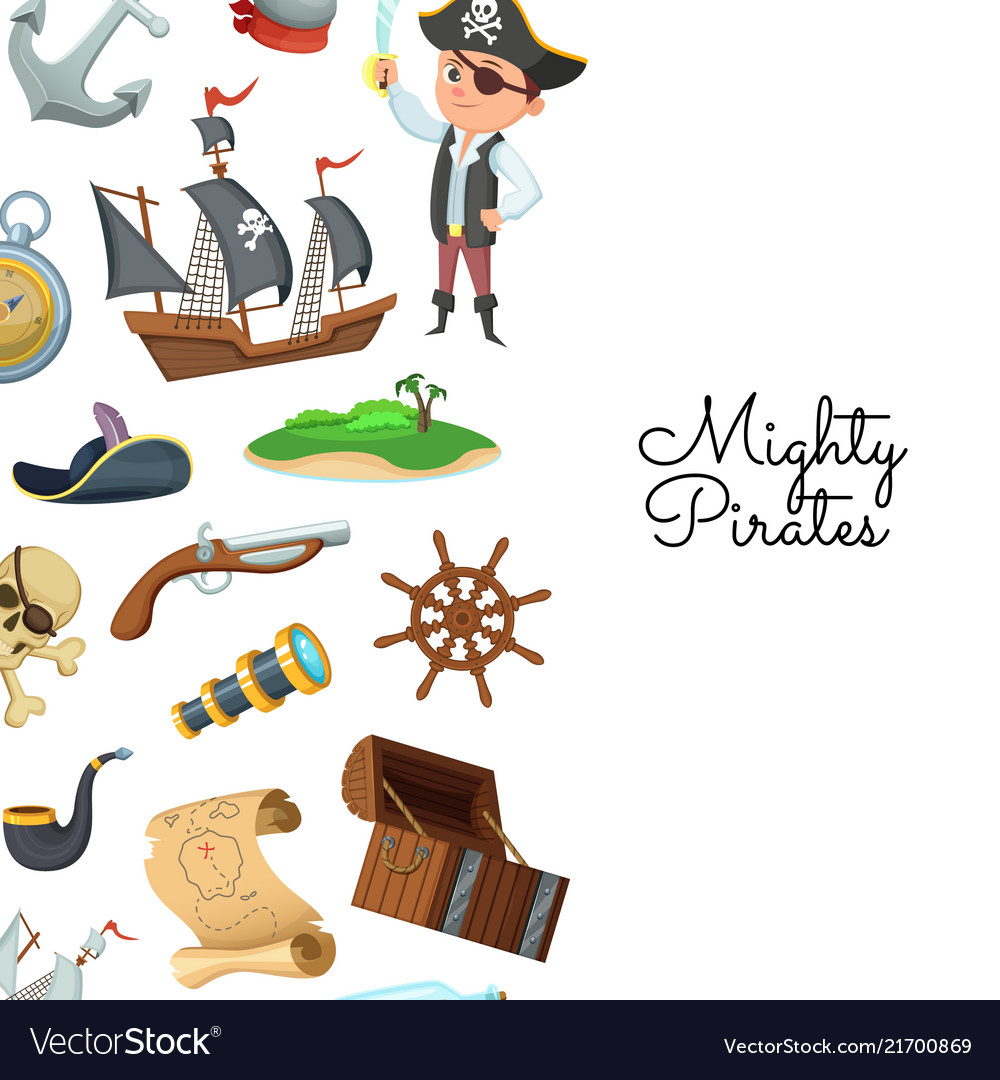 Cartoon sea pirates pirate treasure