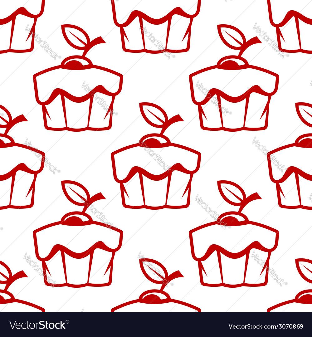 Cherry cupcake seamless pattern vector image