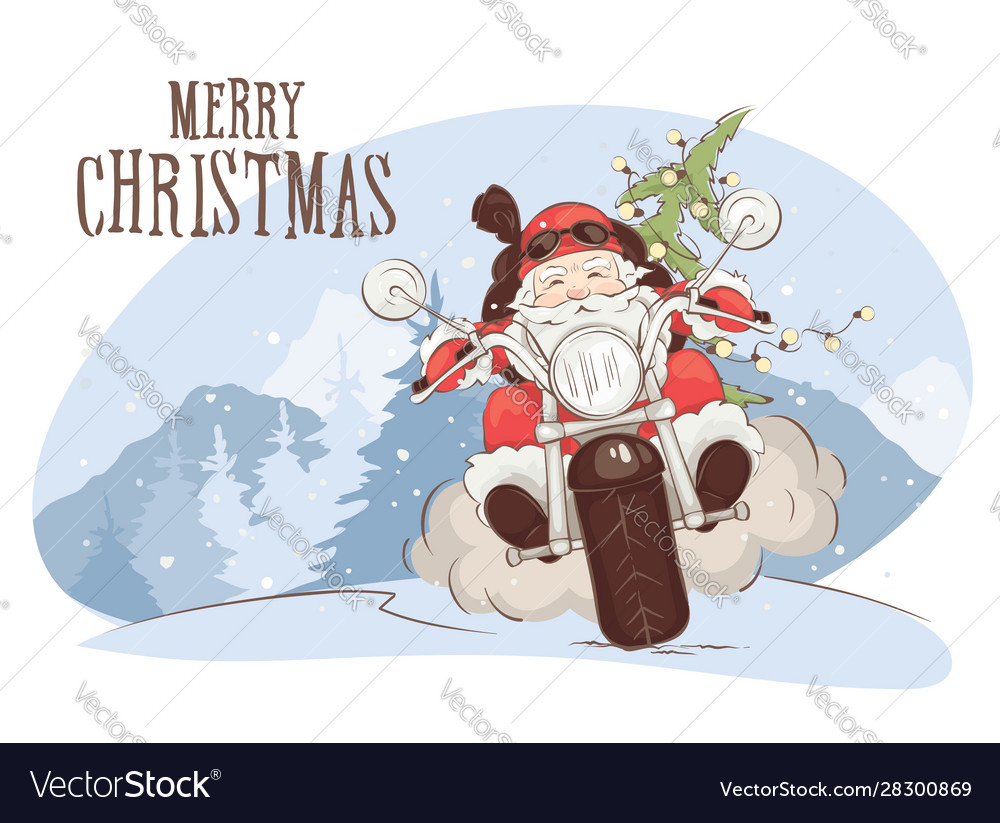 Christmas card - santa biker