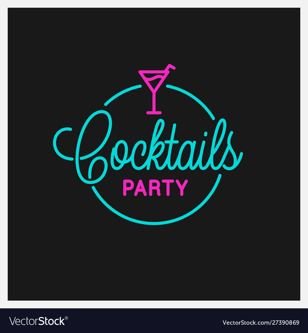 Cocktail party logo round linear logo cocktail