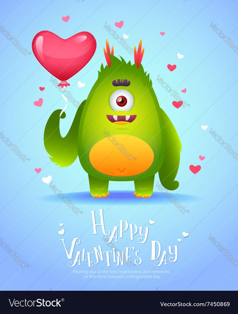 Cute cartoon monster in love holding a pink heart