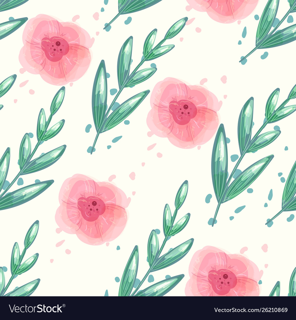 Floral seamless pattern with watercolor