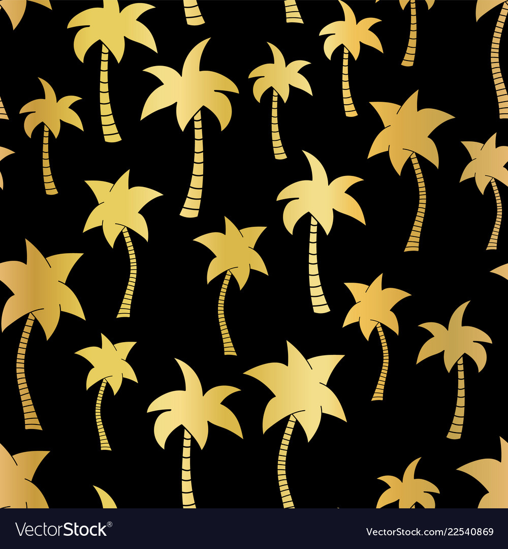 Golden palm trees seamless pattern on black