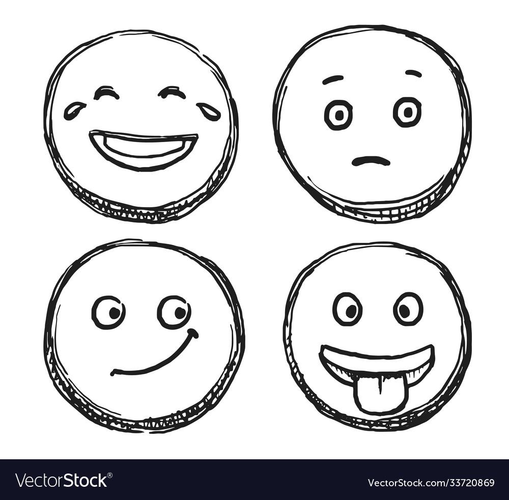Hand drawn positive scribble smile sketch icon set