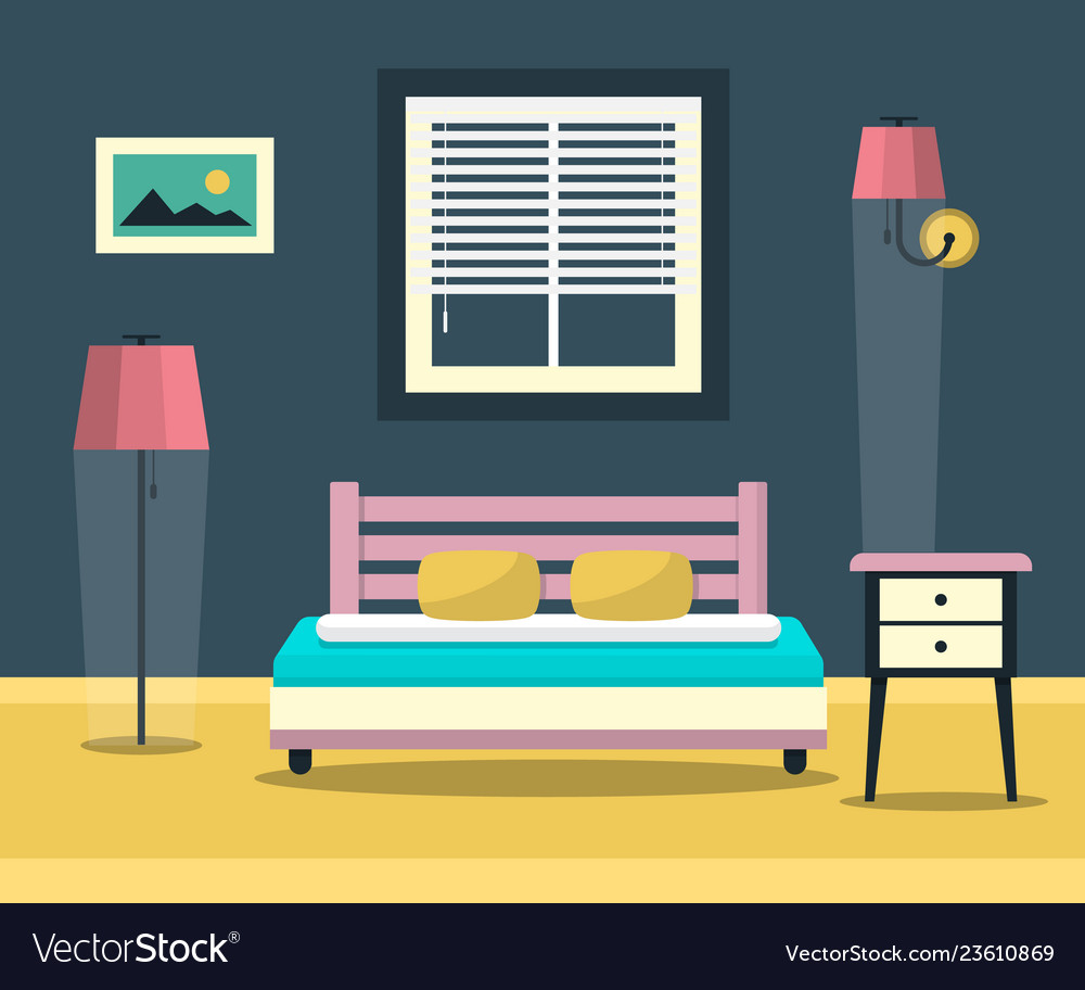 Hotel room - interior with bed furniture and