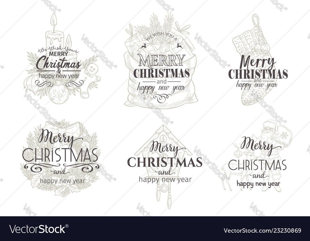 Merry christmas and happy new year cards