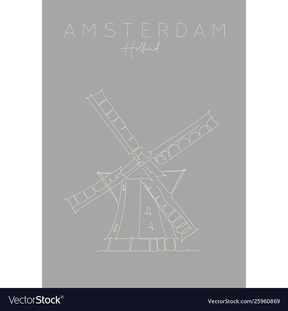 Poster holland windmill grey
