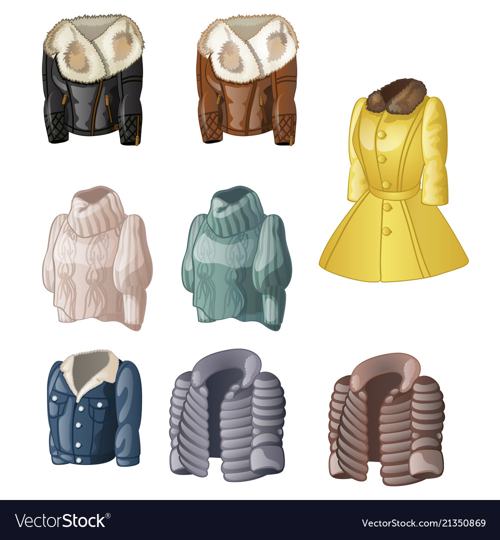 Set of womens animated clothing isolated on a