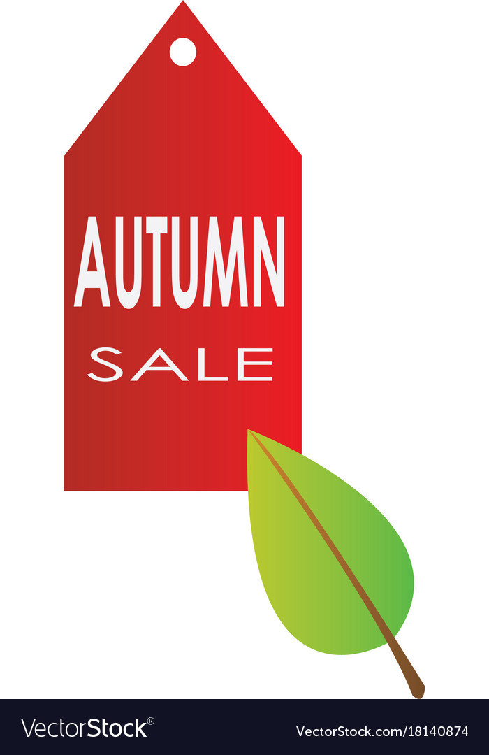 Autumn sale with red label banner icon and autumn