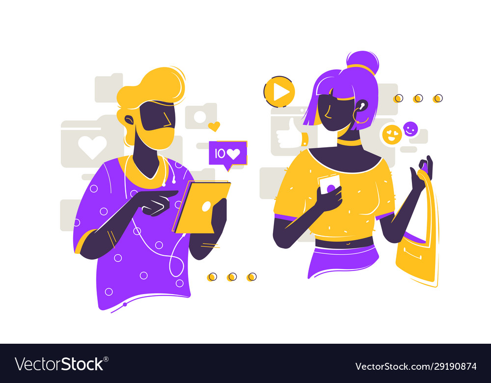 Bearded man and young girl using smartphone