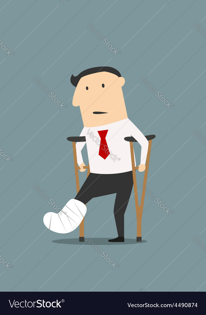 Businessman with broken leg and crutches