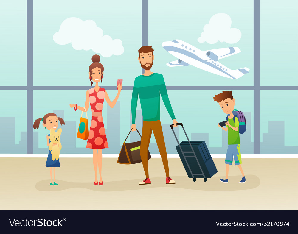 Family at airport terminal with luggage and