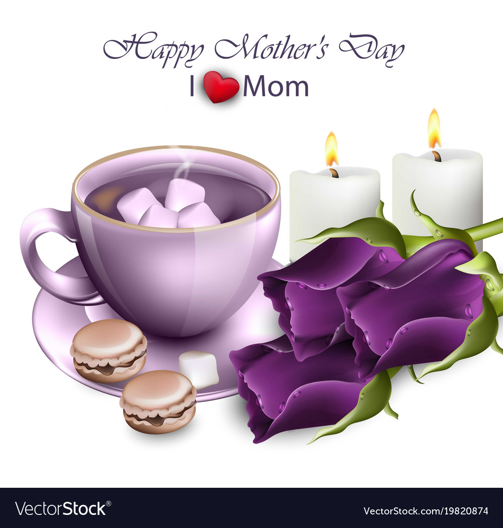 Happy Mothers Day Coffee With Ultra Violet Roses Vector Image