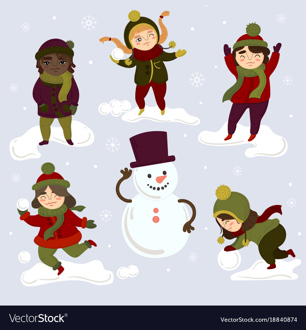 Kids playing outdoors with snowballs and snowman