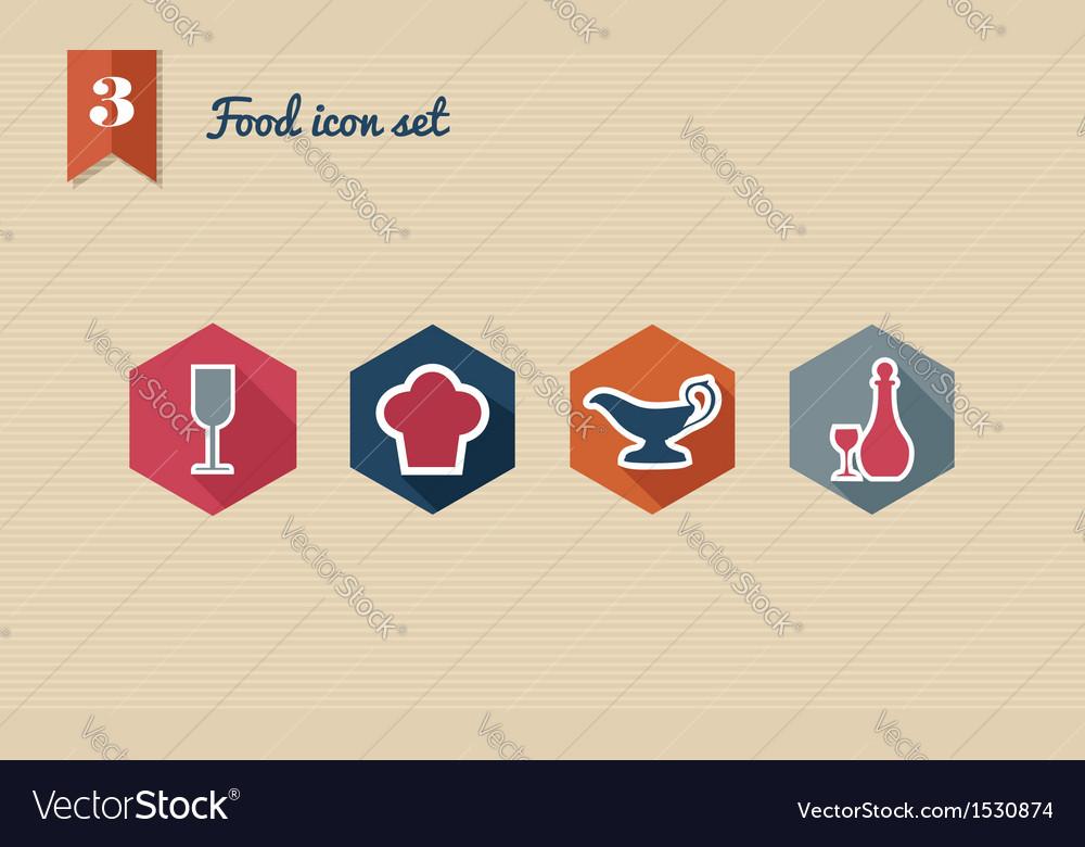 Menu food flat icon set
