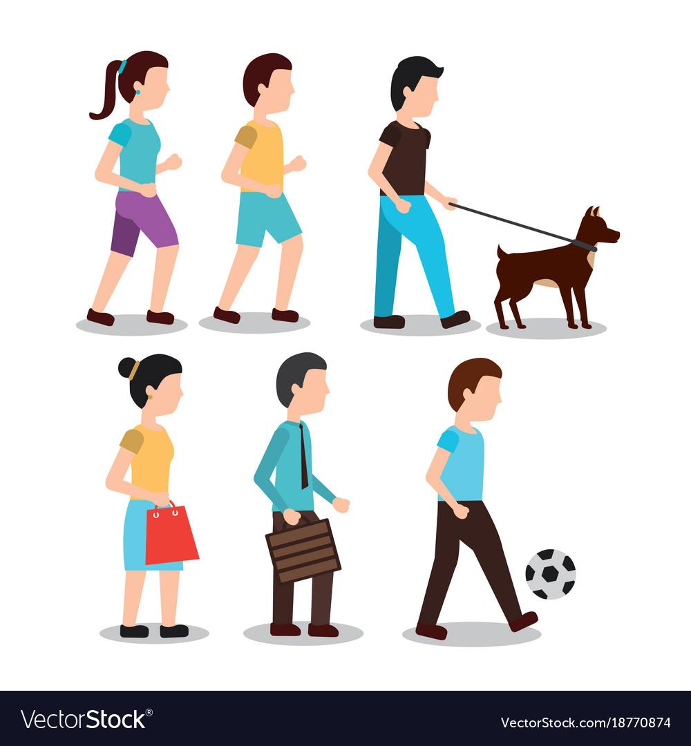 set people various activities different man walk vector image vectorstock