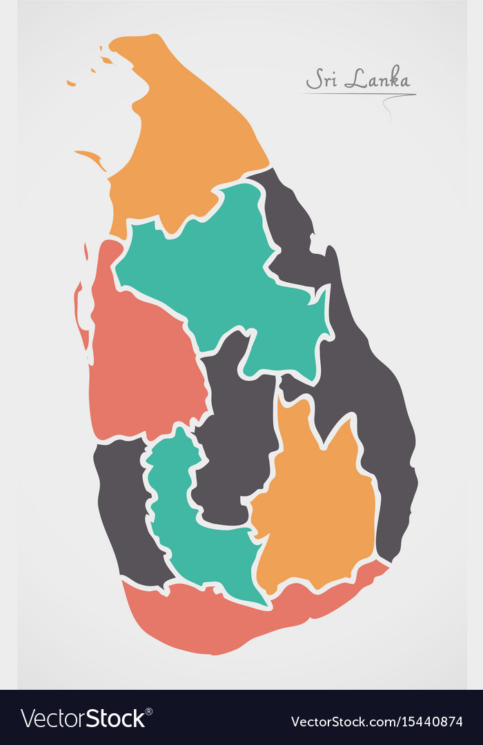 Sri lanka map with states and modern round shapes vector image gumiabroncs Image collections
