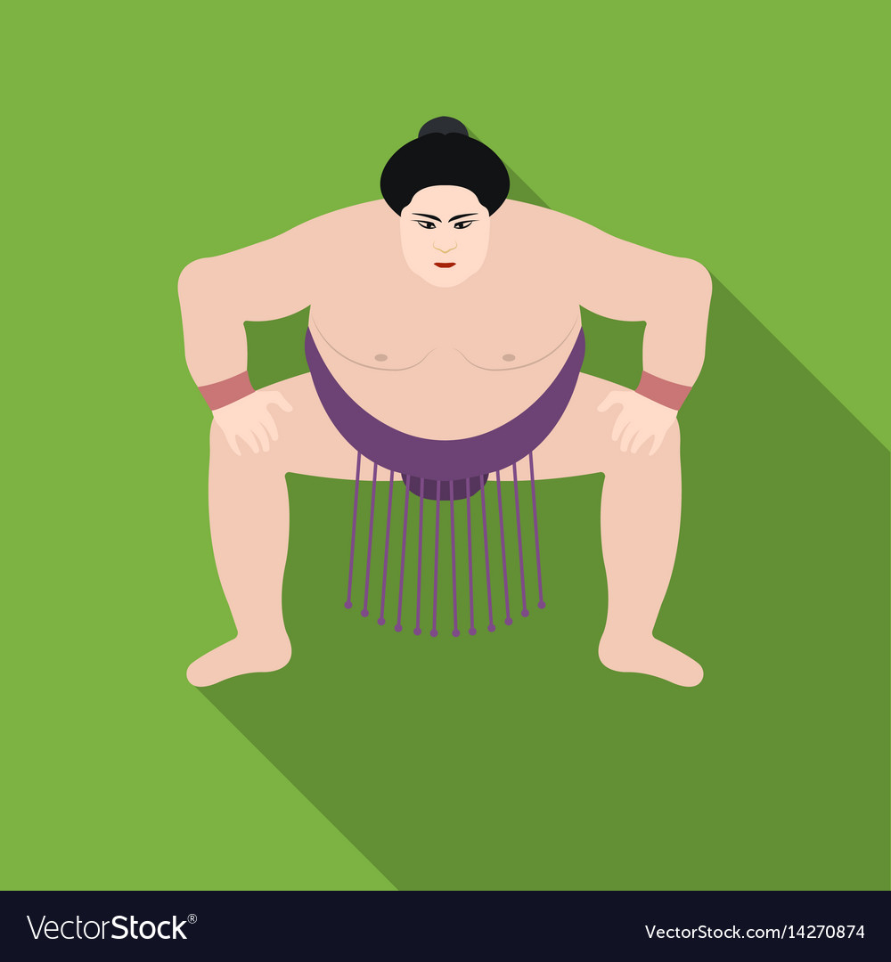 Sumo wrestler icon in flat style isolated on white vector image