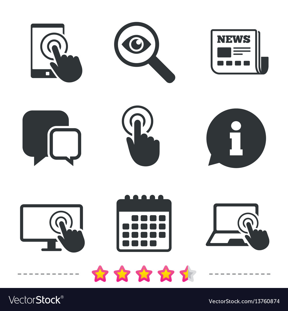 Touch Screen Smartphone Hand Pointer Symbols Vector Image
