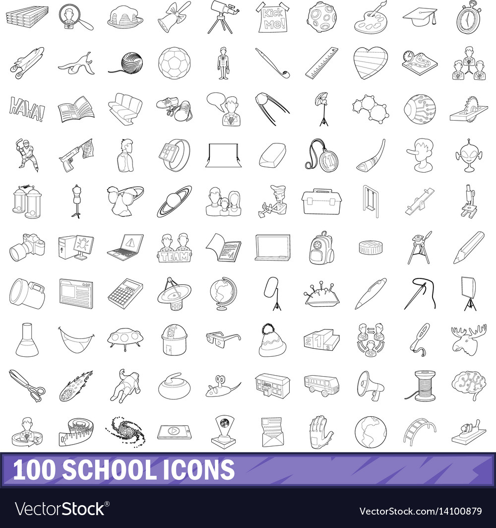 100 school icons set outline style