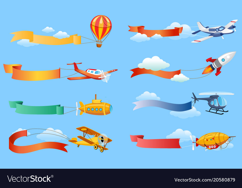 Air vehicles with horizontal banners set