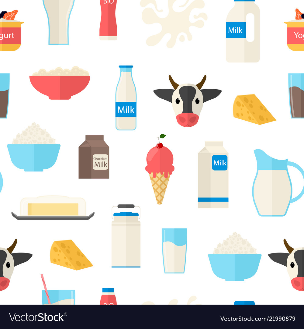Cartoon color milk products seamless pattern