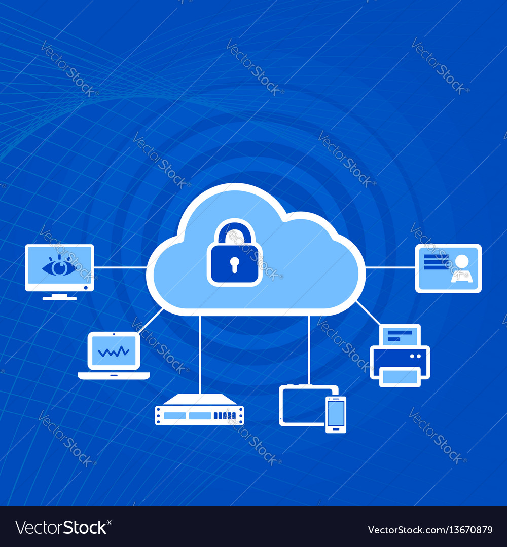 Cloud security concept icon with padlock