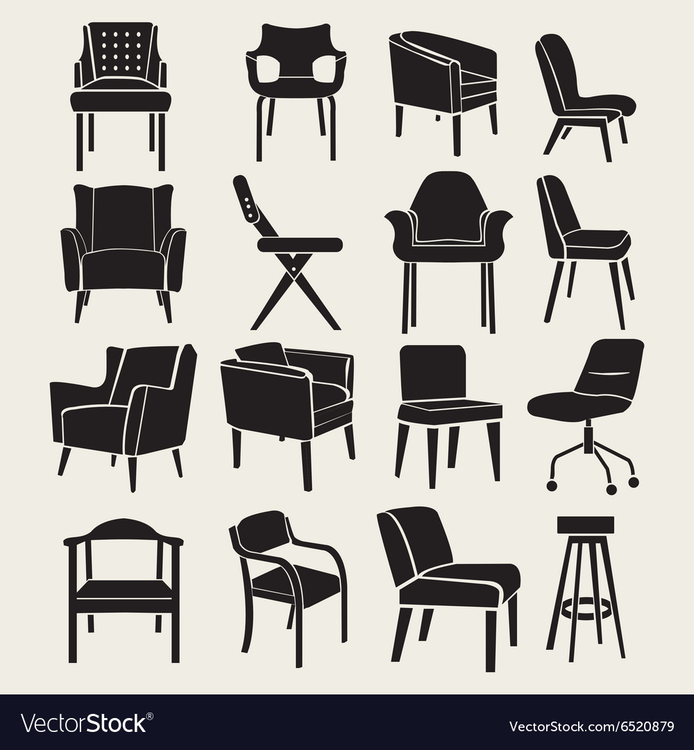 Collection Silhouette of chairs