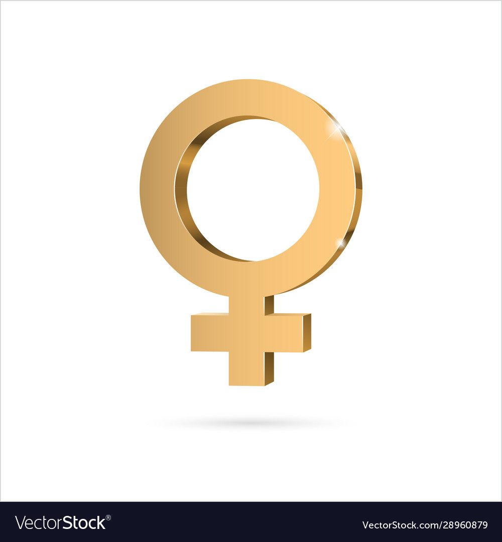 Female gender symbol venus gold 3d symbol