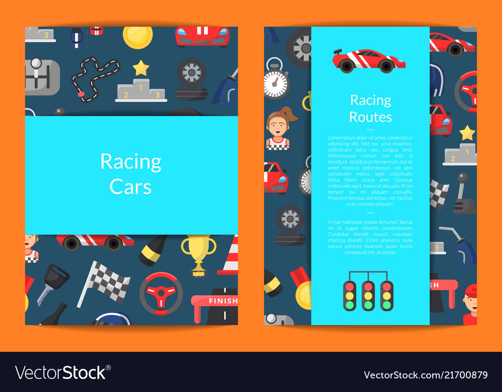 Flat car racing icons card on blue