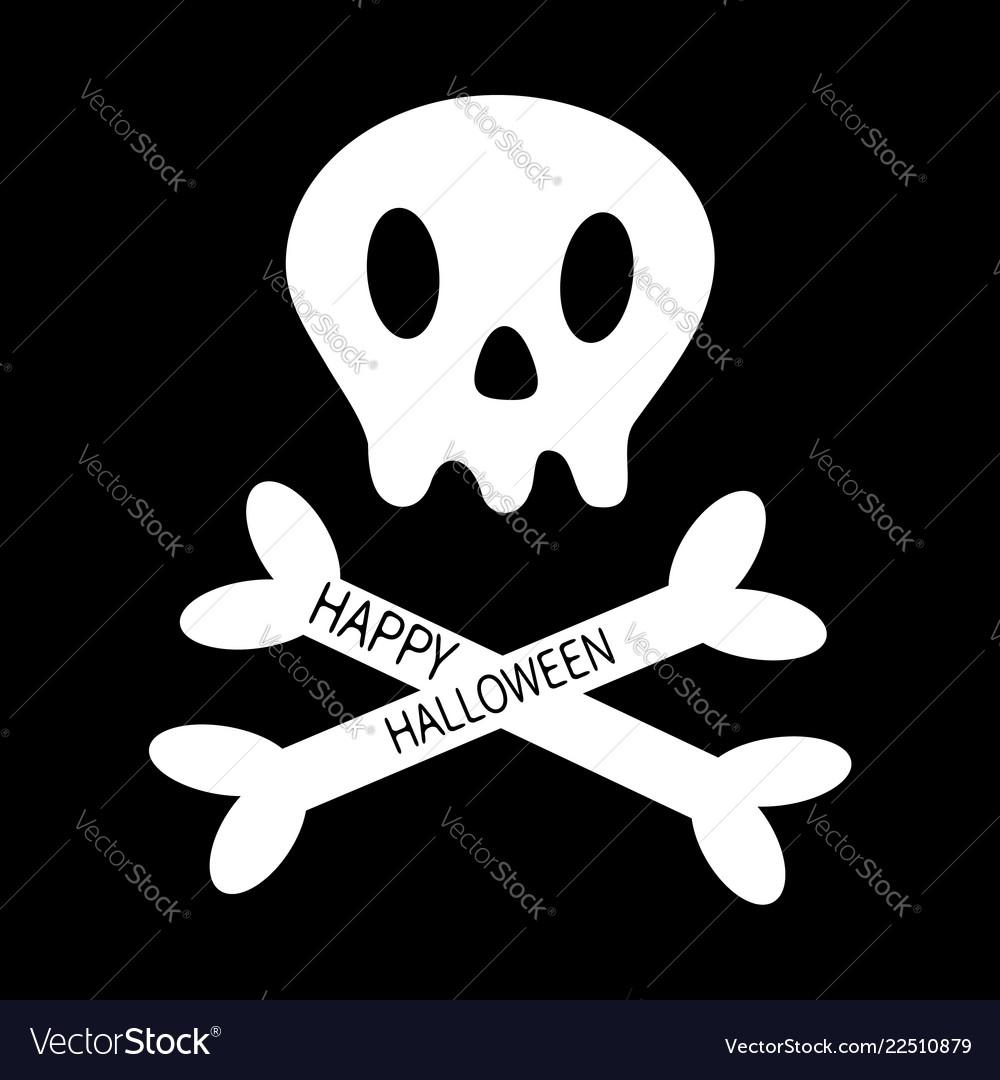 Happy halloween skull with bone crosswise icon