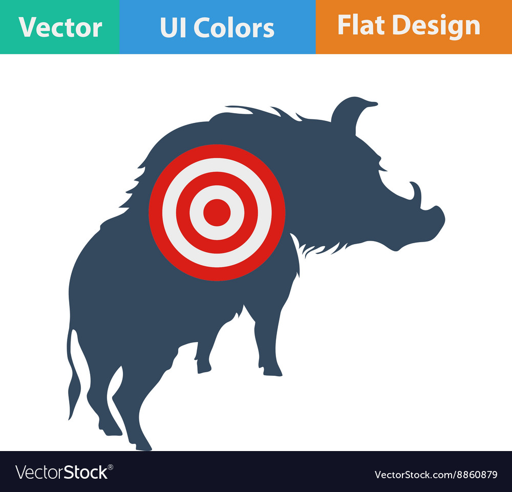 Icon of boar silhouette with target vector image