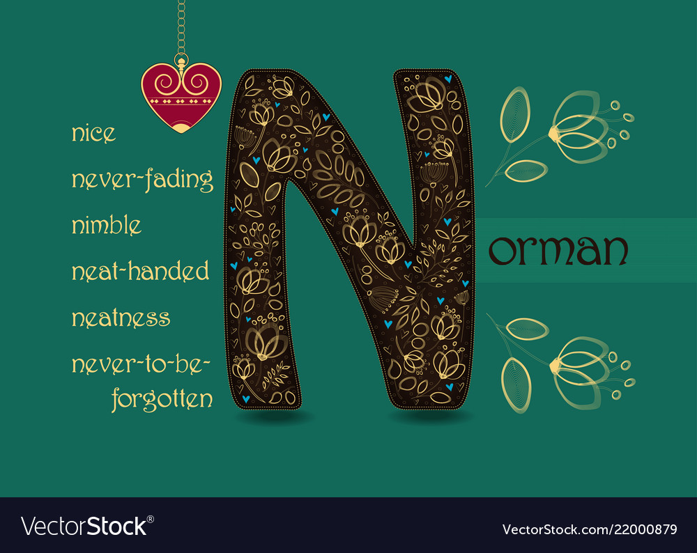 Name day greeting card with flowers and letter n vector image m4hsunfo