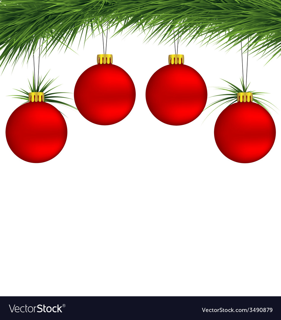 Red Christmas balls on pine branch