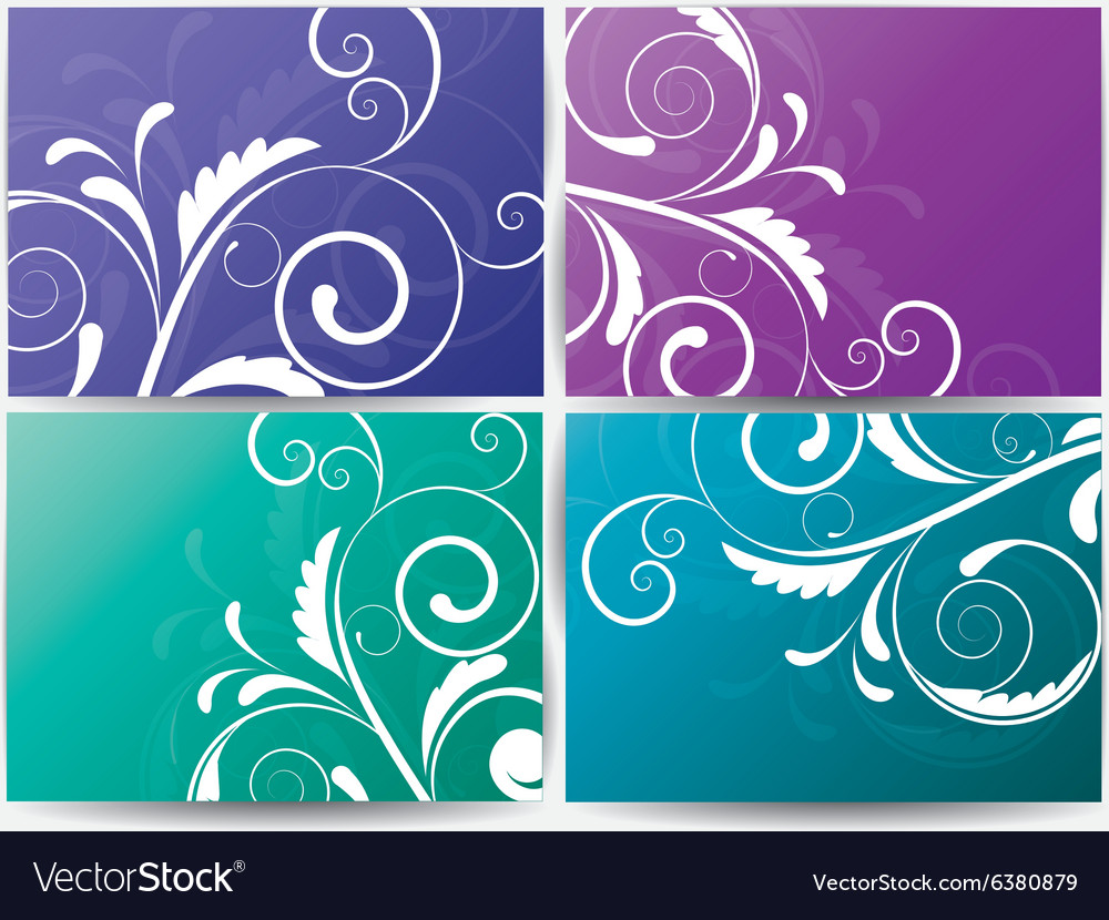 Set abstract cards with flowers