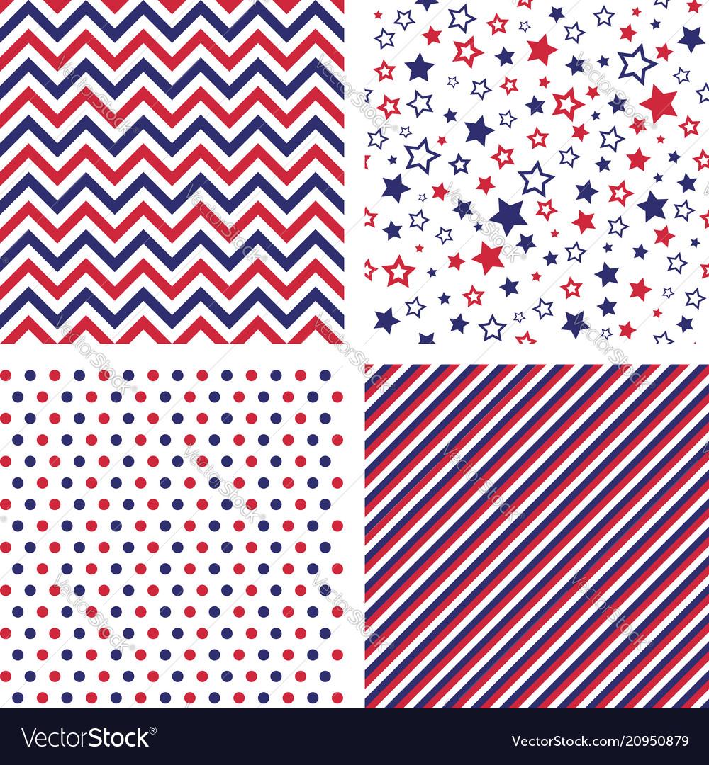 Set of us style seamless patterns