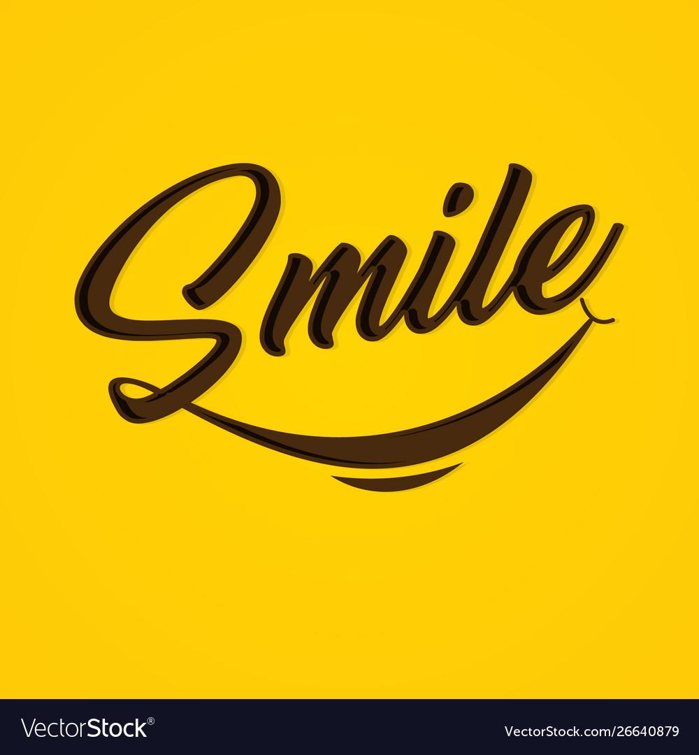 Typography smile on yellow background