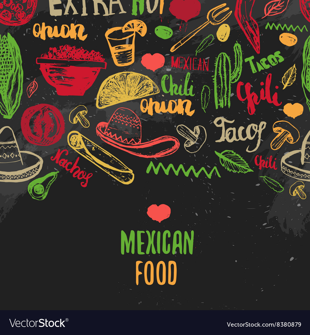 Vintage Mexican Food menu with lettering Mexican