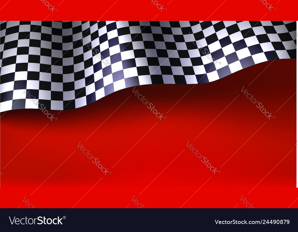 Waving Checkered Racing Flag On Red Background Vector Image