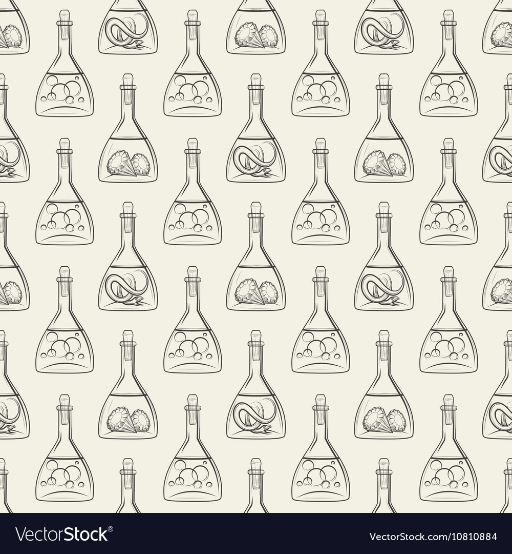 Alchemy seamless pattern with bottles