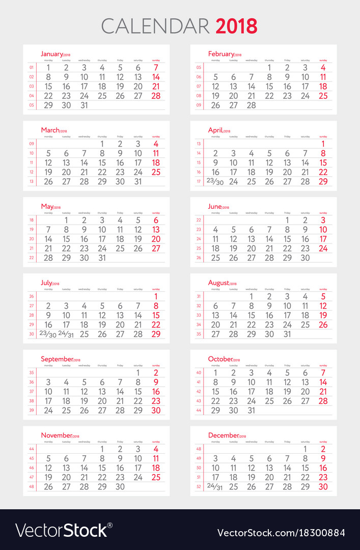 Calendar 2018 with weeks template starts monday