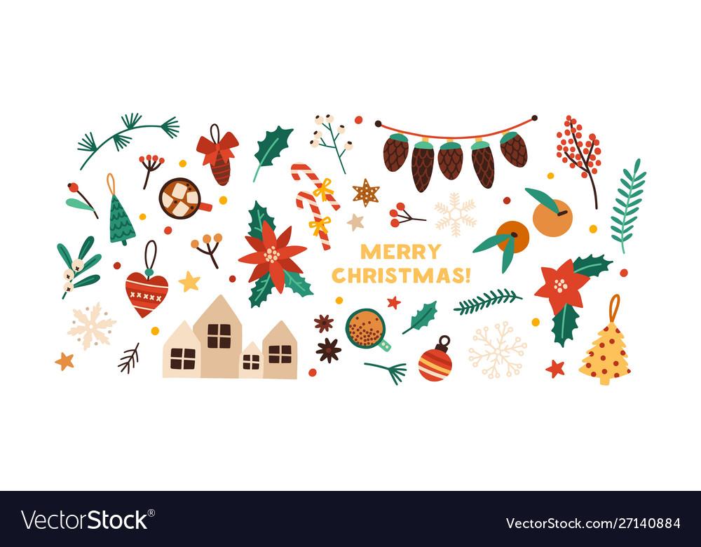 Christmas festive flat decorations set