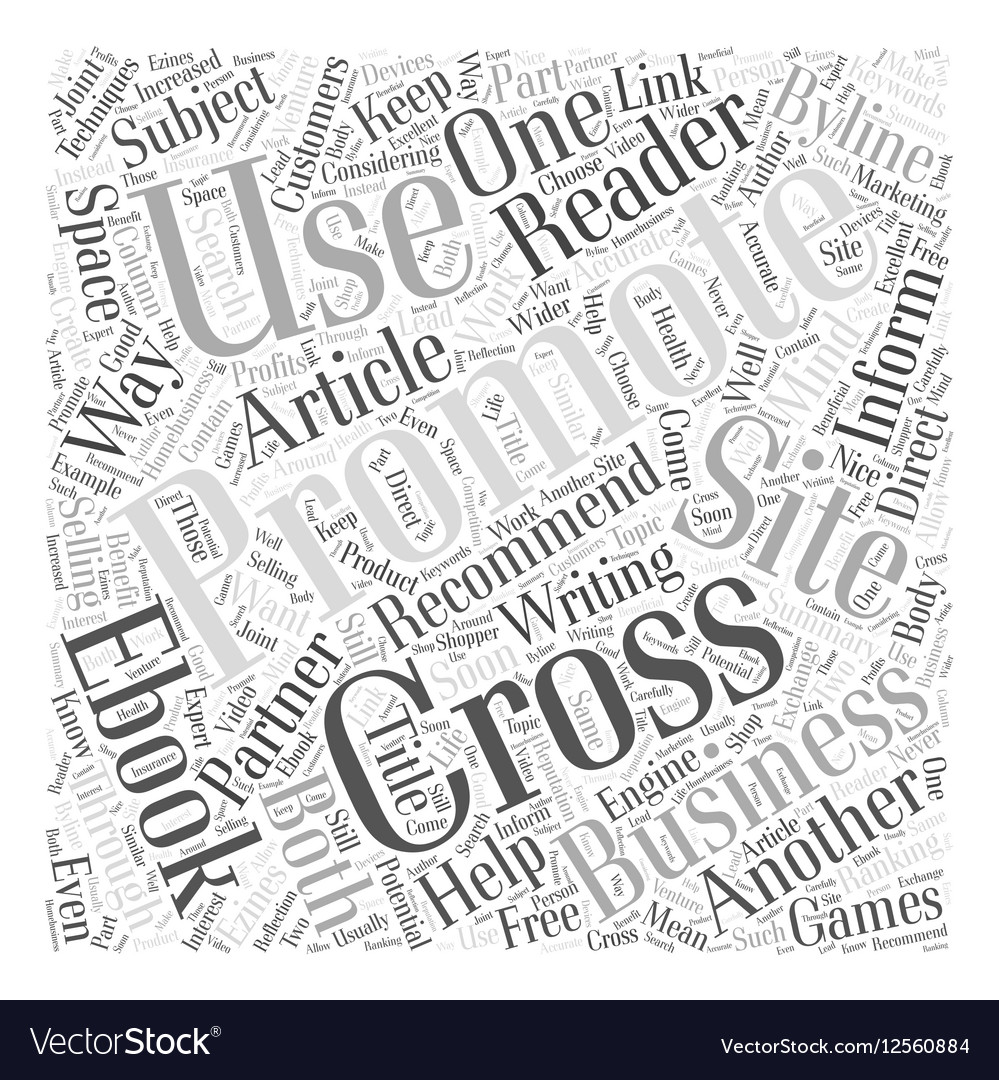 cross promoting techniques that work word cloud vector image