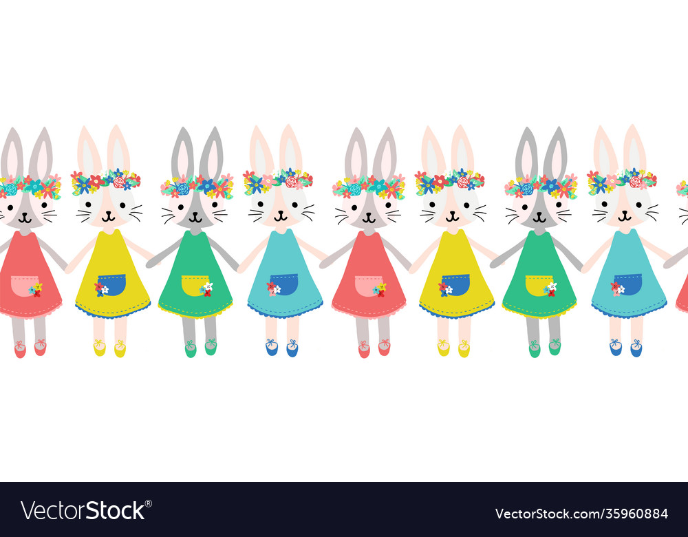 Cute bunnies seamless border repeating