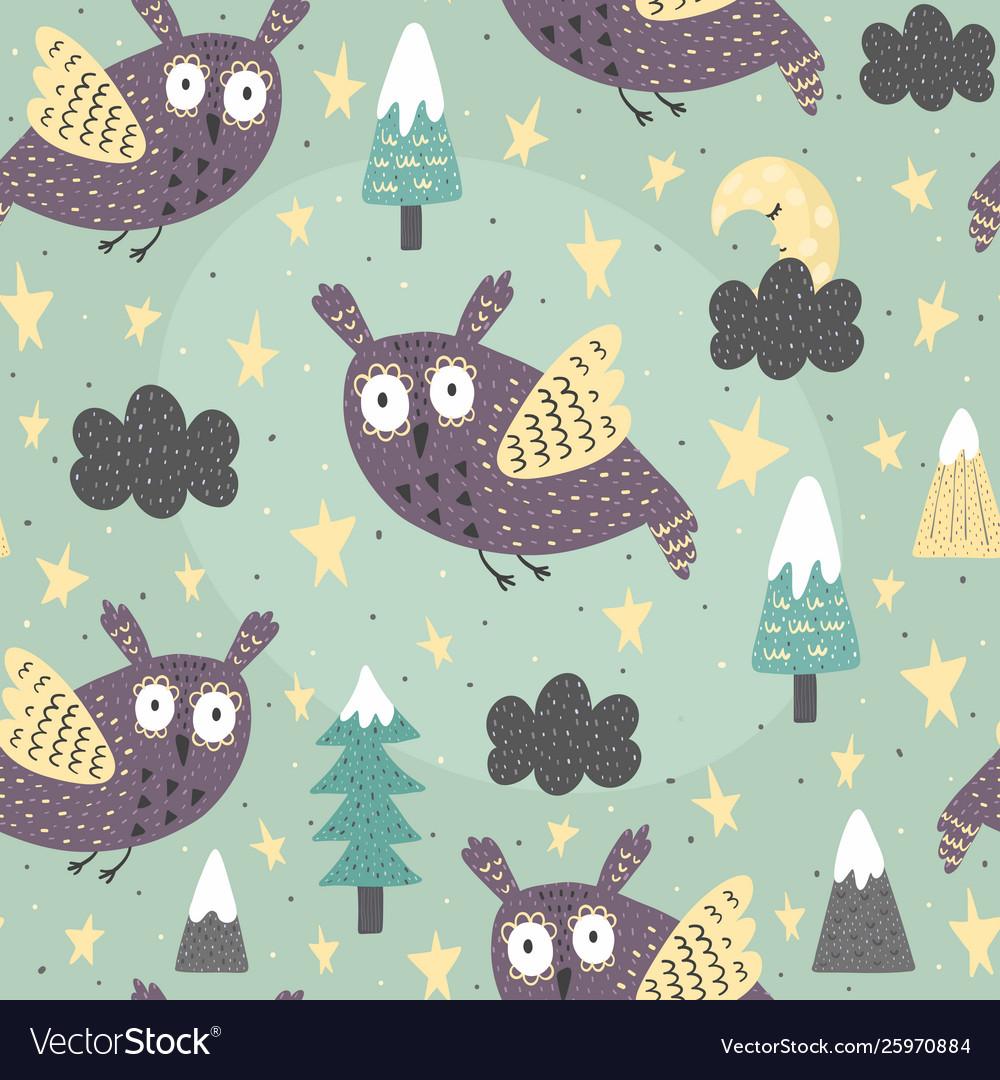 Fantasy owl flying at night seamless pattern
